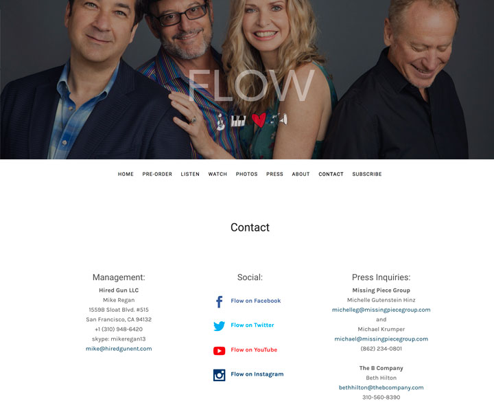 band contact page