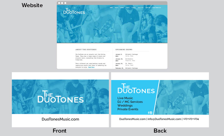 The DuoTones Gig Card Example