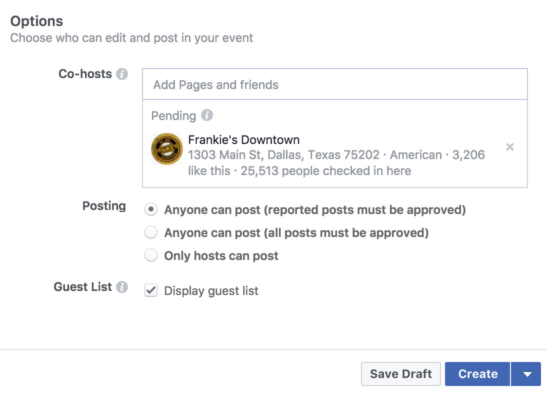 Using Facebook Events to Promote Your Band's Shows - Options