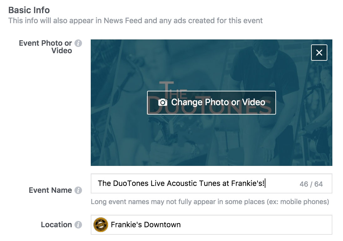 Using Facebook Events to Promote Your Band's Shows - Basic Info