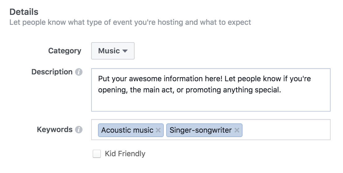 Using Facebook Events to Promote Your Band's Shows - Details