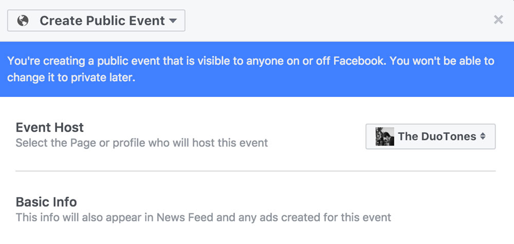 Using Facebook Events to Promote Your Band's Shows - Host
