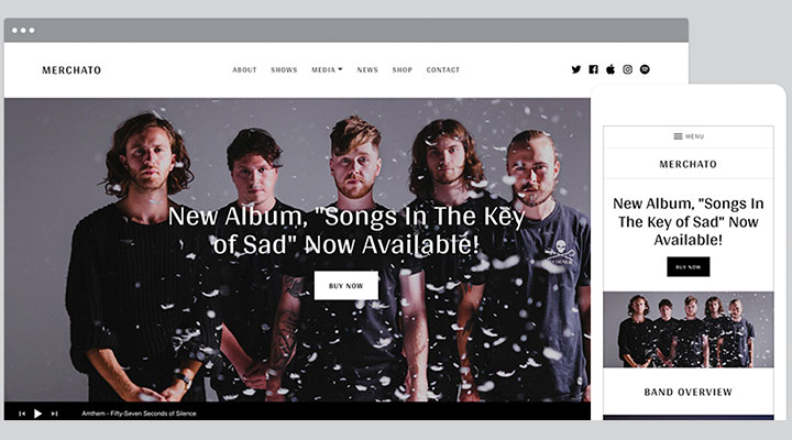 AudioTheme's Merchato is an all-in-one WordPress music store