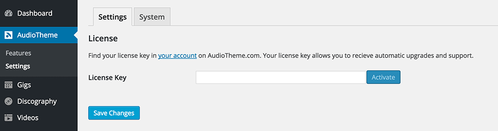 AudioTheme Settings Screen