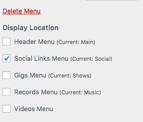 Social Media Menu Display Location