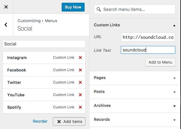 Custom URL for Social Media Menu